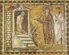 Byzantine Raising of lazarus - Sant' Apollinare Nuovo, Ravenna Jesus Wife, Raising Of Lazarus, Ravenna Italy, Gospel Of Mark, Life Of Christ, Jesus Christ, Family Drawing, Byzantine, Bohemian Rug