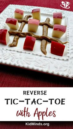 A reverse tic-tac-toe is a game you can play using apples and nut butter. The goal is (did you guess it?) NOT to be the person who uncovers three spots in a row. Activities For 5 Year Olds, Apple Activities, Autumn Activities For Kids, Thanksgiving Activities, Crafts For Kids, Fall Snacks, Minute To Win It, Autumn Crafts, Tic Tac Toe