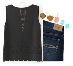 """""""#footloose #noshoenoservive"""" by brooklm ❤ liked on Polyvore featuring Abercrombie & Fitch, Ray-Ban, Essie, Kendra Scott, Charlotte Russe, women's clothing, women's fashion, women, female and woman"""