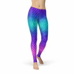 Avery Colorful Dots Leggings Sale, Workout Leggings, Mermaid Leggings, Red And Pink, Purple, Fit Women, Size Chart, Spandex, Saints