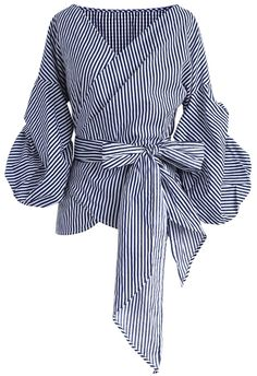 Enchanting Echo Wrapped Top in Stripe - Tops - Retro, Indie and Unique Fashion