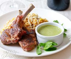 Moroccan-style grilled rack of lamb with a creamy tahini and mint sauce from A Spicy Perspective (http://punchfork.com/recipe/Moroccan-style-grilled-rack-of-lamb-with-a-creamy-tahini-and-mint-sauce-A-Spicy-Perspective)