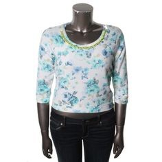 Teen Vogue Womens Juniors Floral Printed Chain Sweatshirt