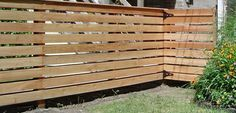 horizontal wooden fences | horizontal slat wooden fence | Casa Helberg Outdoor Spaces, Outdoor Living, Outdoor Ideas, Diy Fence, Fence Ideas, Hot Tub Deck, Fence Planters, Living At Home, My Dream Home