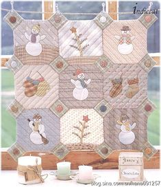 Snowman Quilted Wall Hanging- Free pattern (instructions in Japanese, but can print pattern pieces).