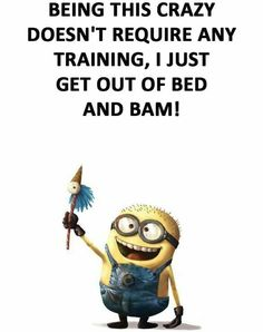 Dosent require any traing Silly Quotes, Stupid Quotes, Great Quotes, Minion Jokes, Minions Quotes, Minions Love, Minions 2014, Sarcastic Humor, Twisted Humor