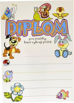 Diplom A5 - Snažík - BD057 Preschool Portfolio, Yoga For Kids, Smurfs, Activities For Kids, Kindergarten, Clip Art, Classroom, Letters, Children
