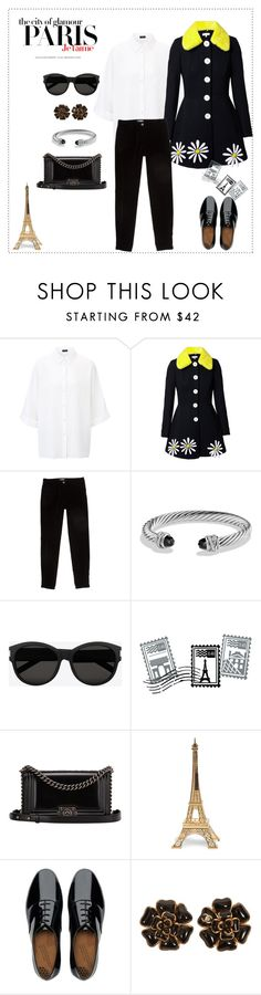 """""""Black and white with a hint of yellow"""" by mina-bina ❤ liked on Polyvore featuring Joseph, Natasha Zinko, Chanel, David Yurman, Yves Saint Laurent, H&M, Dot & Bo, Merci Gustave! and FitFlop"""