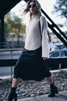 slip dress and turtleneck sweater