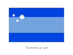 Tammuz-an  was a double-ringed planet. The planet's inhabitants, called Tammuz-an, were tall blue - or purple-skinned humanoids governed by a monarchy. The planet was the homeworld of Mon Julpa. The blue bands represented on the flag represent the double rings of the planets upper atmosphere while the three star graphic represents a unified Tammuz-an after a period of civil war.