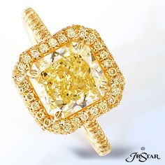 Style 0136 Gorgeous 2.79ct radiant-cut fancy yellow diamond ring edged in micro pave and set in 18KY. Matching band style 0898-099 #yellowdiamond #radiant #matchingband #engagementring