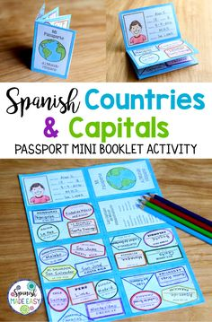 Countries and Capitals Passport Mini Booklet Spanish-Speaking Countries and Capitals passport mini booklet activity.Spanish-Speaking Countries and Capitals passport mini booklet activity. Spanish Lessons For Kids, Spanish Basics, Spanish Lesson Plans, Spanish Activities, French Lessons, Vocabulary Activities, Spanish Teacher, Spanish Classroom, Teaching Spanish