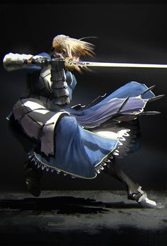 fate / stay night - Saber Inspirationally Sane By Art And Music : Photo Art Anime, Anime Artwork, Fate Zero, Fantasy Characters, Anime Characters, Fate/stay Night, Arturia Pendragon, Fate Stay Night Anime, Fate Servants