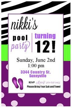 Printable Pool Party Invitations Available At AuntiesSweetLife