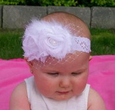 Another Easter Idea!!!  White Shabby Flower Headband With Netting by cutietutti on Etsy, $12.00