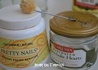 EASY removing those hard to remove scrap label parts from jars - 1 olive oil and 2, fingernail polish remover.
