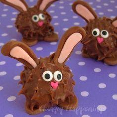 Súper sencillos de elaborar e irresistibles para los niños en esta Pascua: Conejitos de Mantequilla de Maní :)