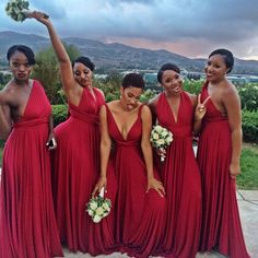 2019 Elegant Wedding Party Dress Long Bridesmaid with 4 Design Chiffon Beautiful Dresses Black Bridesmaids, Red Bridesmaid Dresses, Wedding Party Dresses, Wedding Bridesmaids, Wedding Attire, Party Wedding, Wedding Ideas, Burgundy Bridesmaid, Black People Weddings