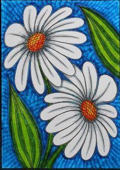 White Daisies ACEO Original Artist Trading Card
