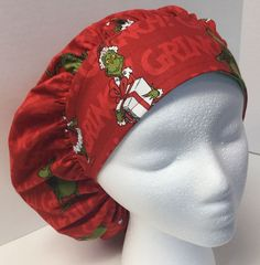 Christmas Grinch Medical Bouffant OR Scrub Cap Surgical Surgery Hat #Handmade