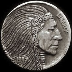 TONY LEWIS HOBO NICKEL: INDIAN CHIEF - 1937 BUFFALO PROFILE American Coins, Native American, Edward Curtis, Indian Skull, Hobo Nickel, Antique Coins, Art Forms, Sculpture Art, Jewelry Collection