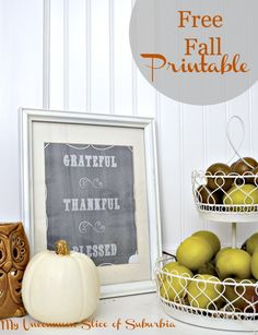 Free Fall Printable Grateful Thankful Blessed