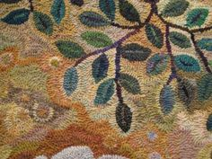 detail of Daphne rug designed and hooked by Jule Marie Smith from Fish Eye Rugs blog