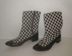 Vintage MOD 1960's  BREVITT BOOTS Cloth & Patent Leather B&W CHECK 7m *RARE