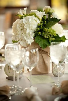 Hydrangeas - love the idea of fabric wrapped potted plants