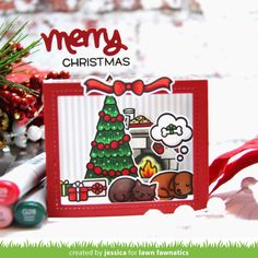 LF Christmas Dreams stamp set colored w copics. Shadow Box Card die with Chili Pepper cs. I used scor-tape to assemble the box. I trimmed a piece of striped patterned paper to fit inside the three walls of my scene to look like wallpaper.