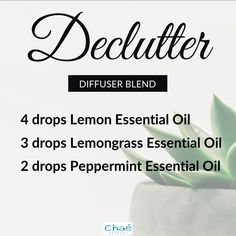Declutter Diffuser Blend 4 drops Lemon Essential Oil 3 drops Lemongrass Essential Oil 2 drops Peppermint Essential Oil Organic Essential Oils, Essential Oil Uses, Drop, Diffuser Blends, Peppermint, Essentials, Pure Products, This Or That Questions, Recipes