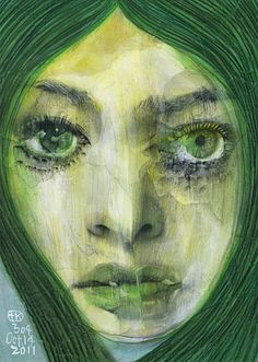 Project Showcase - Broken 1000 Faces by Takahiro Kimura Bipolar Art, Expressive Art, Unusual Art, Ap Art, Whimsical Art, Portrait Art, Shades Of Green, Figurative Art, Japanese Art