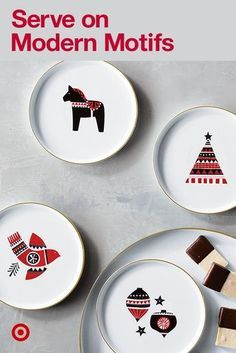 Project 62's modern take on decor means serving apps on bright red motifs with just a pop of pink.