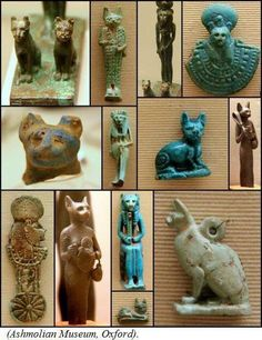 A collection of Egyptian Bastets and Sekhmets illustrating the importance of cat iconography in Egyptian culture.