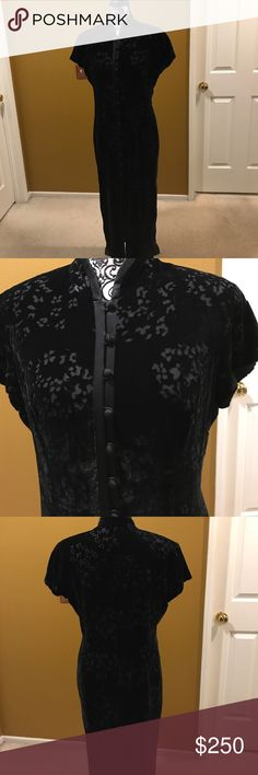 Vintage Evan Picone.Asia inspired dress. Velvet Black vintage dress by Evan Picón. Pictures do not do it justice! This dress has been hanging in my closet forever... size says 10 but I had it taken in a few years back. So I would say, more like 4/6. Silk buttons on black velvet long to the ankle. Slit at opening about the knee. So beautiful. Needs to be loved and worn somewhere special. Dresses Wedding