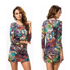 026a0c77bd32 Sexy Women Slim Bodycon Crew Neck Flower Print Mini Casual Dress with  Pocket  Unbranded