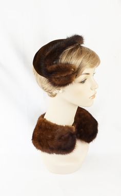 Vintage 1950s Hat Asymmetrical Mink Trimmed Cocktail with Matching Collar by alleycatsvintage on Etsy