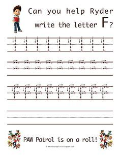 Learn to write the uppercase letter f with Ryder from Paw Patrol! Life As A Moore.: The Letter F Alphabet Writing, Alphabet Activities, Classroom Activities, Writing A Book, Preschool Activities, Preschool Letters, Preschool Classroom, Ryder Paw Patrol, Paw Patrol Party