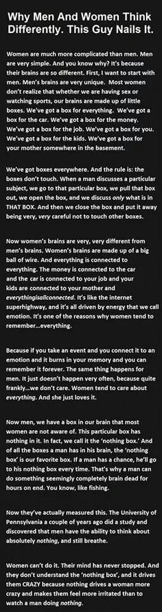 why men and women think differently-pretty eye-opening!