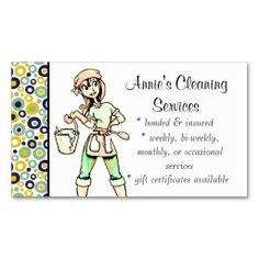 Whimsical house cleaning services business cards holiday business cleaning services lady business card green yellow colourmoves