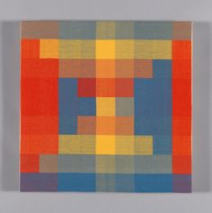 """Ethel Stein   satin damask weave   cotton   16"""" x 16""""   Red, Yellow, Blue, Green, Orange II   U.S.A.   1995   woven on a loom with a drawloom attachment fabricated by the artist"""
