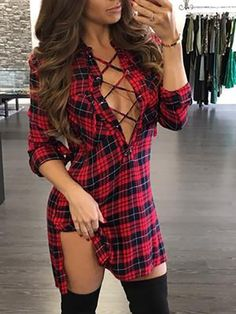 Plaid Lace-Up Side Slit Shirt Dress latest fashion apparel for you! We have dresses, tops, bottoms and swimwear for girls and ladies. Side Slit Shirt, Laced Up Shirt, Red Shirt, Trend Fashion, Look Fashion, Womens Fashion, Fashion Clothes, Dress Clothes, Dress Outfits