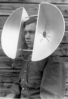 World War II acoustic devices for hearing incoming planes in the distance. Allowed soldiers to hear incoming attacks. It is significant for others to understand this technology so they can make advancements on these hearing devices. Walter Pichler, Photos Du, Old Photos, Vintage Photographs, Vintage Photos, Tecno, Dieselpunk, World War, Images