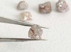 2 Pcs Grey Pink Rough Diamond Grey Pink Raw by gemsforjewels
