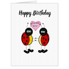 Ladybugs together holding hands in love card - birthday diy gift present custom ideas