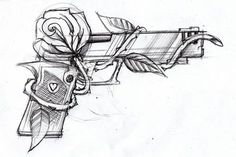 Gun and rose by *SteveGolliotVillers on deviantART I am not usually one for tattoos/art of guns, but there happens to be something so alluring and crisp about this piece that I can't help but be drawn to it/ #AwesomeTattooIdeas