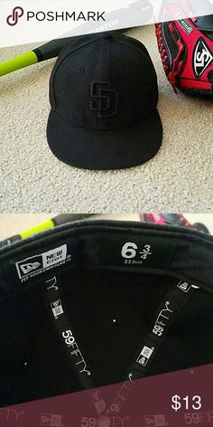 Everything Kids- SD Padres fitted cap Youth New Era genuine MLB merchandise  fitted SAN DIEGO PADRES cap. Black on black SD logo. Size 6 Purchased at  Lids. 941d8d829