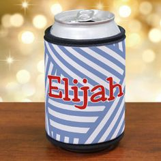 Personalized Stripes Can Koozie #stripeskoozie
