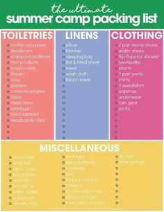 Summer Camp Packing List free summer printables & summer camp packing list & organize for summer camp & free printables The post Summer Camp Packing List appeared first on Travel. Camping Diy, Camping Snacks, Camping With Kids, Family Camping, Tent Camping, Camping Gear, Outdoor Camping, Camping Stuff, Outdoor Travel