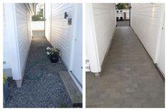 #Belegningsstein mellom #hus og #garasje.